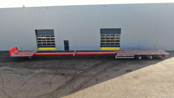 Remorque mega plateau | 3 essieux | hauteur d'attelage 950 mm | 2x extensible jusqu'à 28,8 m | charge utile 36,6 tonnes