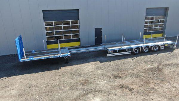 RINO® 3-ASSIGE MEGA MACHINE TRAILER // UITSCHUIFBAAR // SUPER LICHT // LAADVERMOGEN 36,6 TON