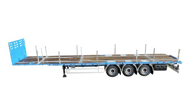 3-axle flatbed  trailer   2 driving heights 1150 & 1250 mm   twistlocks   payload 38 ton