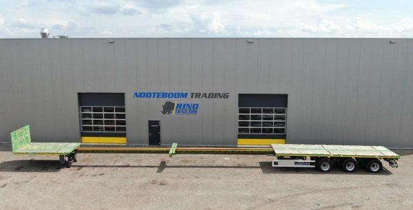 Semi remorque plateau | 3 essieux | 3 essieux avec direction hydraulique | extensible jusqu'à 28,8 m | charge utile 35 tonnes
