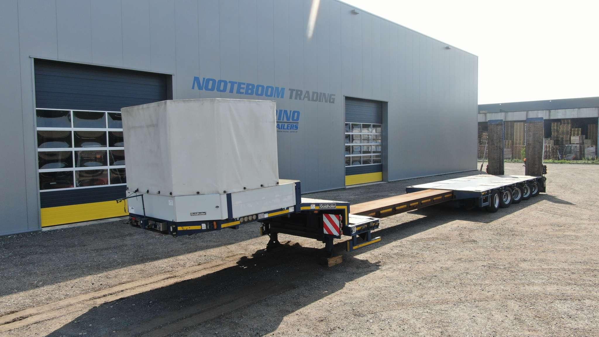 5-assige Goldhofer Semi dieplader | hydraulisch gestuurd | uitschuifbaar tot 14,8 | laadvermogen 64,5 ton