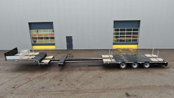 Semi remorque surbaissée | 3 essieux | extensible jusqu'à 14,7 m | charge utile 36,7 tonnes