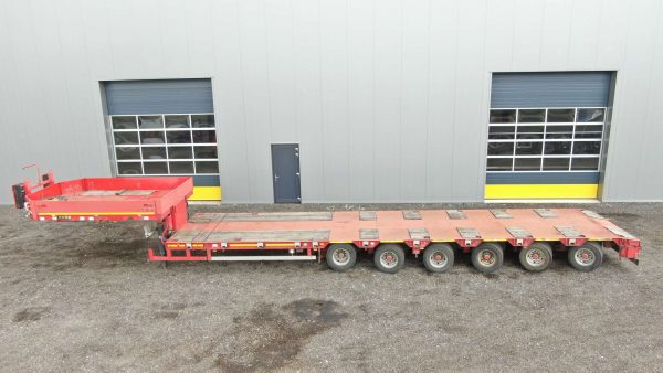 6 Axle lowbed   hydraulische gooseneck   extendable till 20.4 m   payload 63 ton